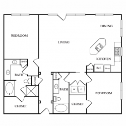 Calais Midtown Houston Apartment 2 bedroom, 1382ft² floorplan