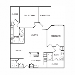 Calais Midtown Houston Apartment 2 bedroom, 1304ft² floorplan