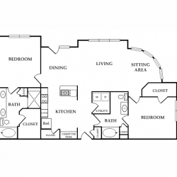 Calais Midtown Houston Apartment 2 bedroom, 1450ft² floorplan