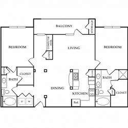 Calais Midtown Houston Apartment 2 bedroom, 1235ft² floorplan