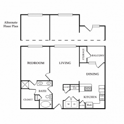 Calais Midtown Houston Apartment 1 bedroom, 863ft² floorplan