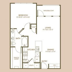 The Hamilton Apartment 1 Bedroom, 760ft² Floorplan