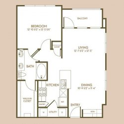 The Hamilton Apartment 1 Bedroom, 783ft² Floorplan