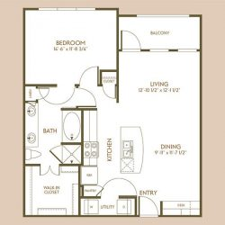The Hamilton Apartment 1 Bedroom, 847ft² Floorplan