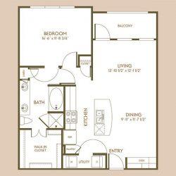 The Hamilton Apartment 1 Bedroom, 847ft² Floorplan