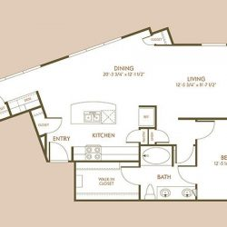 The Hamilton Apartment 1 Bedroom, 958ft² Floorplan