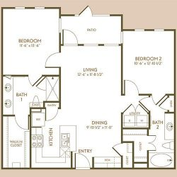 The Hamilton Apartment 2 Bedroom, 1029ft² Floorplan