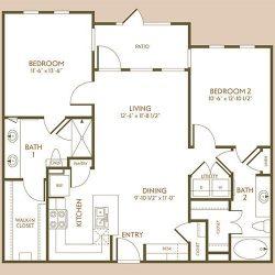 The Hamilton Apartment 2 Bedroom, 1029ft² Floorplan