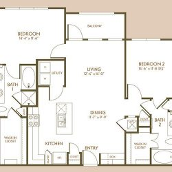 The Hamilton Apartment 2 Bedroom, 1117ft² Floorplan