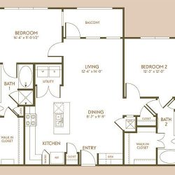 The Hamilton Apartment 2 Bedroom, 1152ft² Floorplan