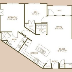 The Hamilton Apartment 2 Bedroom, 1378ft² Floorplan