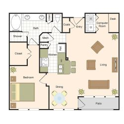 Jackson Hill Houston Apartments 1 bedroom, 1009ft² Floorplan