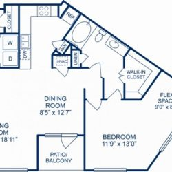 Camden City Center Houston Apartments 1 Bedroom, 1012ft² Floorplan