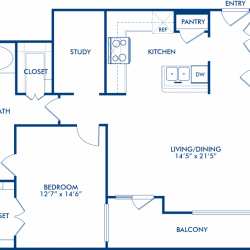 Camden City Center Houston Apartments 1 Bedroom, 1026ft² Floorplan
