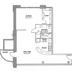 City View Lofts Houston Apartments 1 Bedroom, 1035ft² Floorplan