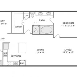 AMLI City Vista Houston Montrose Apartments 1 bedroom, 1043ft² floorplan