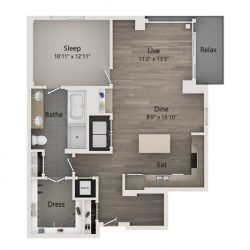 Catalyst Downtown Houston Apartment 1 bedroom, 1048ft² Floorplan