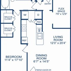 Camden City Center Houston Apartments 1 Bedroom, 1056ft² Floorplan