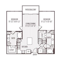 Ashton West Dallas Montrose Houston Apartments 2 bedroom, 1058ft² floorplan