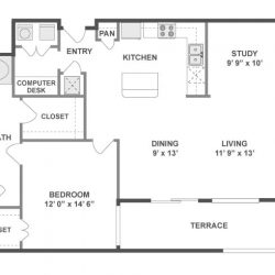 AMLI City Vista Houston Montrose Apartments 1 bedroom, 1059ft² floorplan