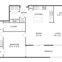 AMLI City Vista Houston Montrose Apartments 1 bedroom, 1071ft² floorplan