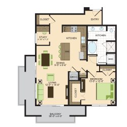2900 West Dallas Houston Apartment 1 bedroom, 1074ft² floorplan