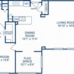 Camden City Center Houston Apartments 1 Bedroom, 1075ft² Floorplan