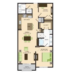 2900 West Dallas Houston Apartment 1 bedroom, 1086ft² floorplan