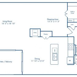 Camden City Center Houston Apartments Studio, 1086ft² Floorplan