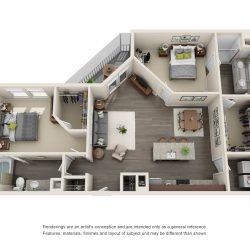 Jefferon Heights Houston Montrose Apartments 2 bedroom, 1097ft² floorplan