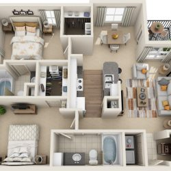 Estates at Memorial Heights Houston Apartments 2 bedroom, 1099ft² Floorplan