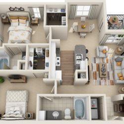 Estates at Memorial Heights Houston Apartments 2 bedroom, 1099ft² Floorplan