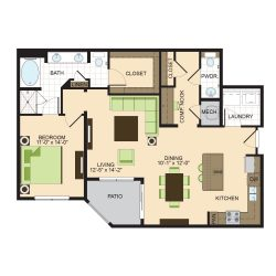 2900 West Dallas Houston Apartment 1 bedroom, 1107ft² floorplan