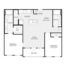 Fairmont Museum District Houston Apartments 2 bedroom, 1111ft² Floorplan