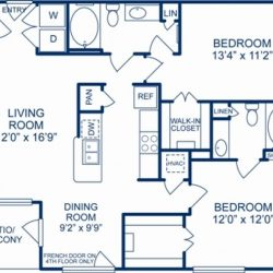 Camden City Center Houston Apartments 2 bedroom, 1111ft² Floorplan