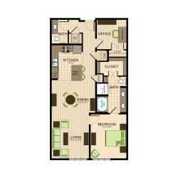 The Susanne Houston Montrose Apartments 1 bedroom, 1112ft² floorplan