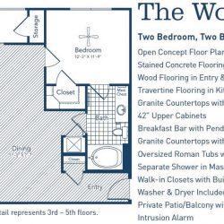 The Westheimer Houston Apartments 2 bedroom, 1119ft² floorplan