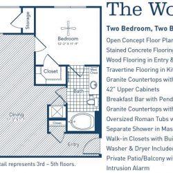 The Westheimer Houston Apartments 2 bedroom, 1119ft² floorplan