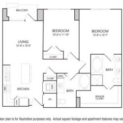 The Sovereign at Regent Square Apartments 2 bedroom, 1125ft² floorplan