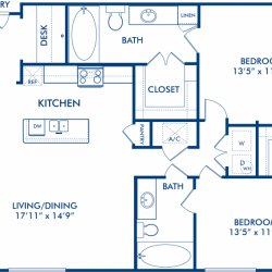 Camden City Center Houston Apartments 2 bedroom, 1130ft² Floorplan