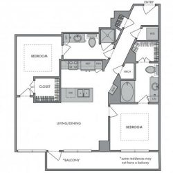 Hanover Montrose Houston Apartments 2 bedroom, 1130ft² Floorplan