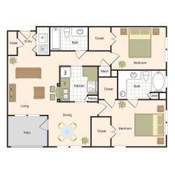 Jackson Hill Houston Apartments 2 bedroom, 1135ft² Floorplan