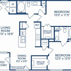 Camden City Center Houston Apartments 2 bedroom, 1137ft² Floorplan