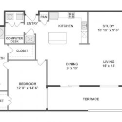 AMLI City Vista Houston Montrose Apartments 1 bedroom, 1137ft² floorplan