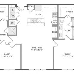 AMLI River Oaks Houston Montrose Apartments 2 bedroom, 1155-1226ft² floorplan