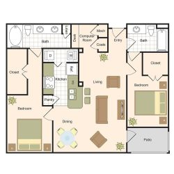 Jackson Hill Houston Apartments 2 bedroom, 1169ft² Floorplan