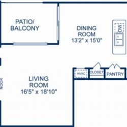 Camden City Center Houston Apartments 1 Bedroom, 1173ft² Floorplan