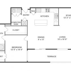 AMLI City Vista Houston Montrose Apartments 1 bedroom, 1181ft² floorplan