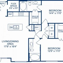 Camden City Center Houston Apartments 2 bedroom, 1185ft² Floorplan