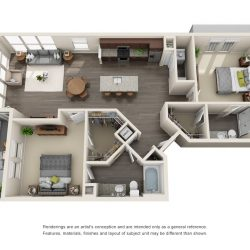 Jefferon Heights Houston Montrose Apartments 2 bedroom, 1185ft² floorplan